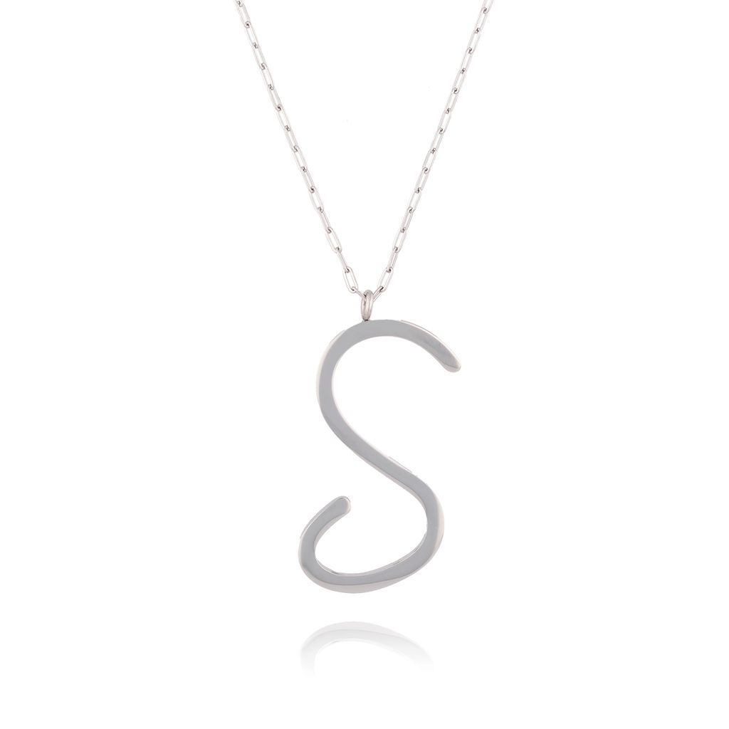 Naszyjnik ze stali szlachetnej srebrny literka S Alphabet NAT0014