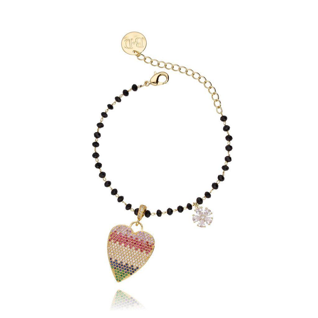 Bransoletka ze szklanymi kryształkami i tęczowym sercem BMU0005