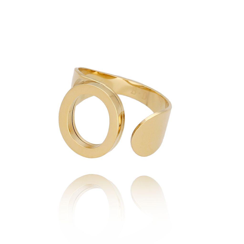 Pierścionek złoty ze stali szlachetnej z literką O PSA0089