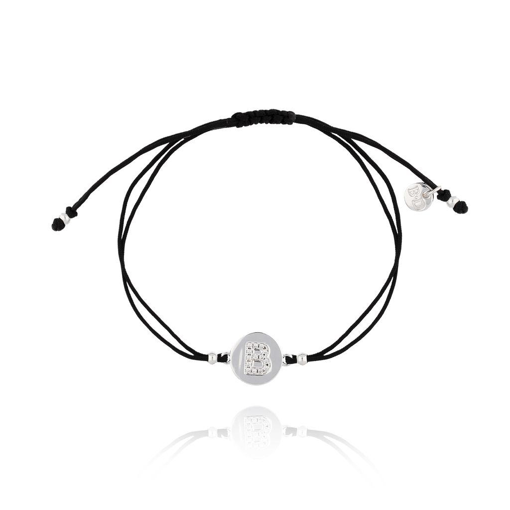 Bransoletka srebrna na sznurku z literką B  BAT0003
