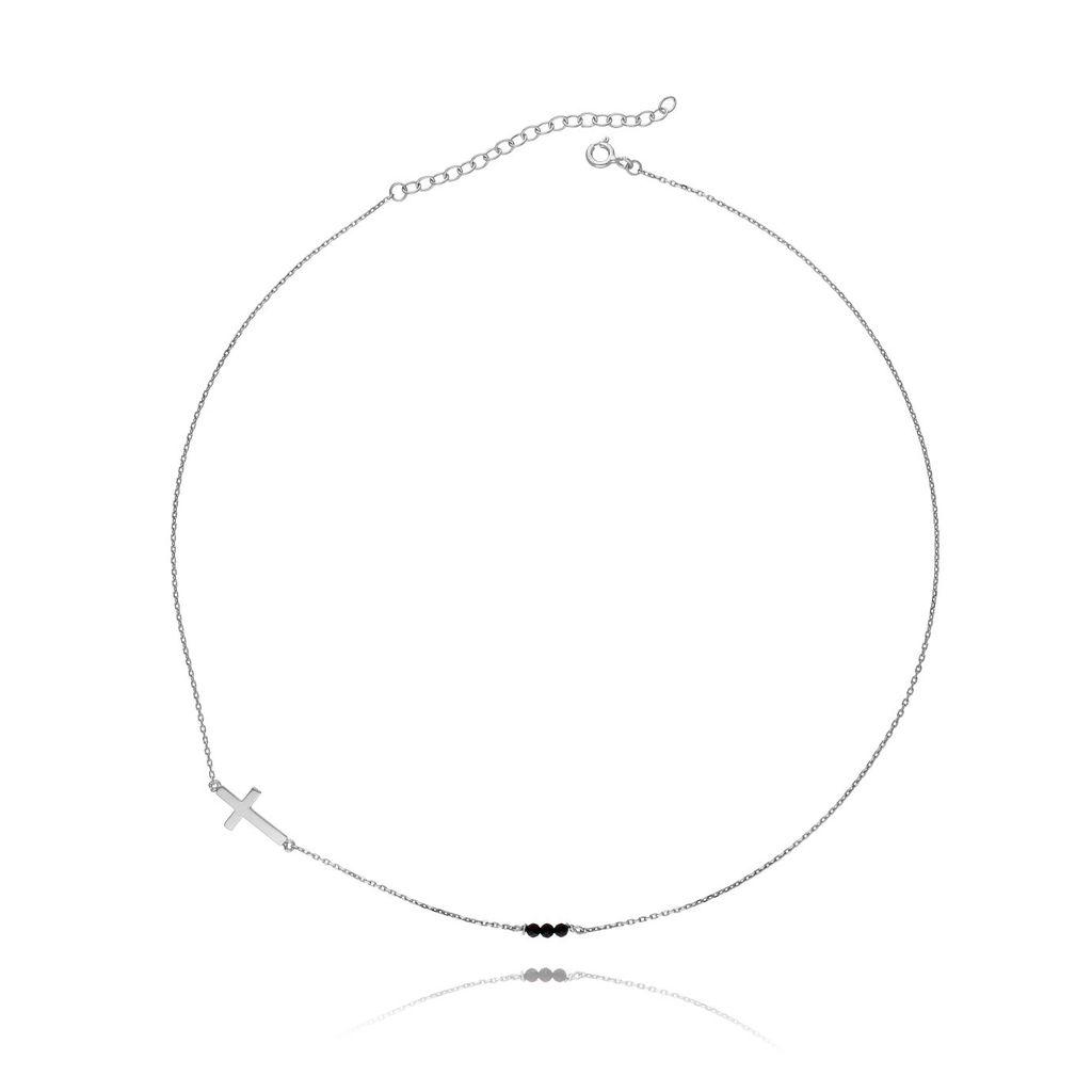 Naszyjnik srebrny krzyżyk z kryształkami NSE0005_N