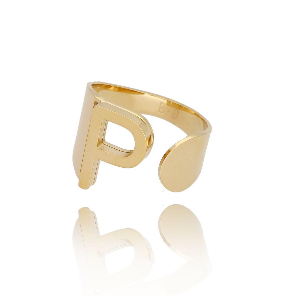 Pierścionek złoty ze stali szlachetnej z literką P PSA0090