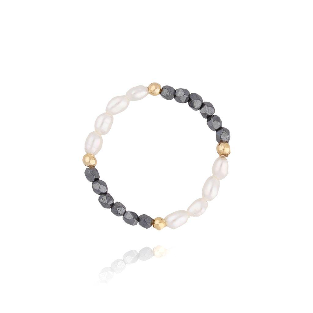 Pierścionek elastyczny z perłami i hematytami  PTW0064