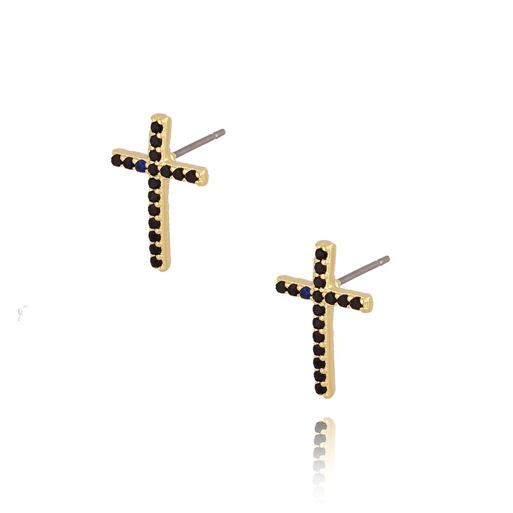 Kolczyki krzyżyki złote z czarnymi cyrkoniami KRG0607