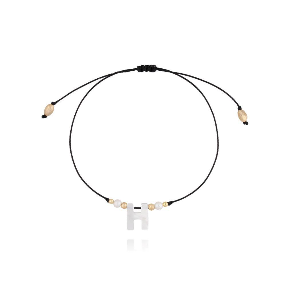 Bransoletka na sznurku z literką H BAT0029