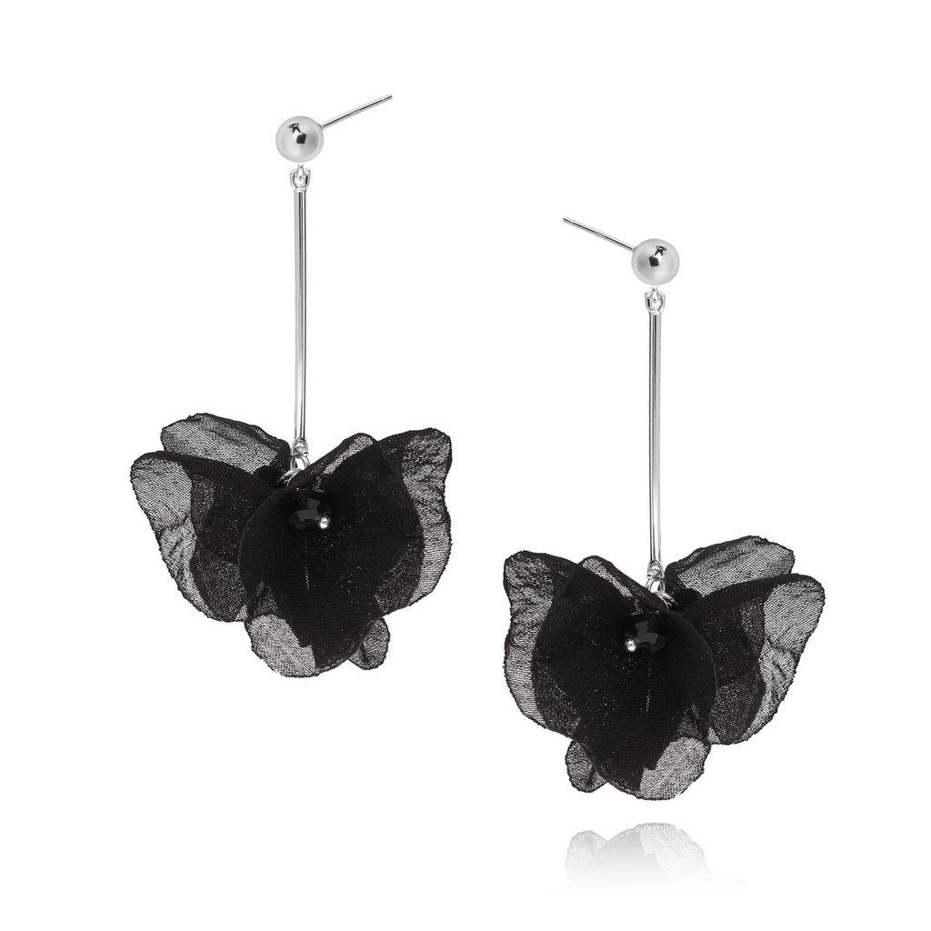 Kolczyki jedwabne kwiaty czarne KBL0187