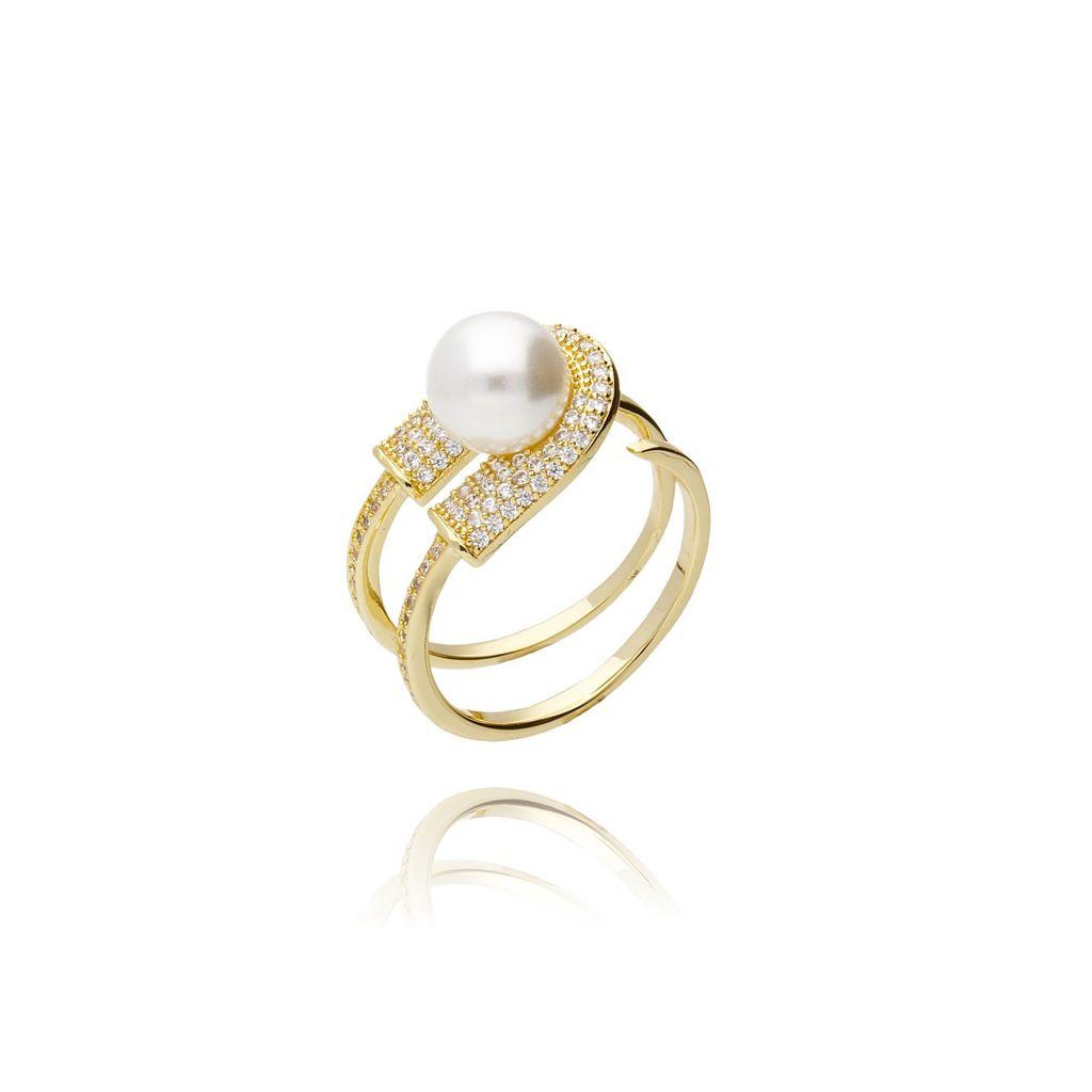 Pierścionek złoty z cyrkoniami i perłą PPE0003