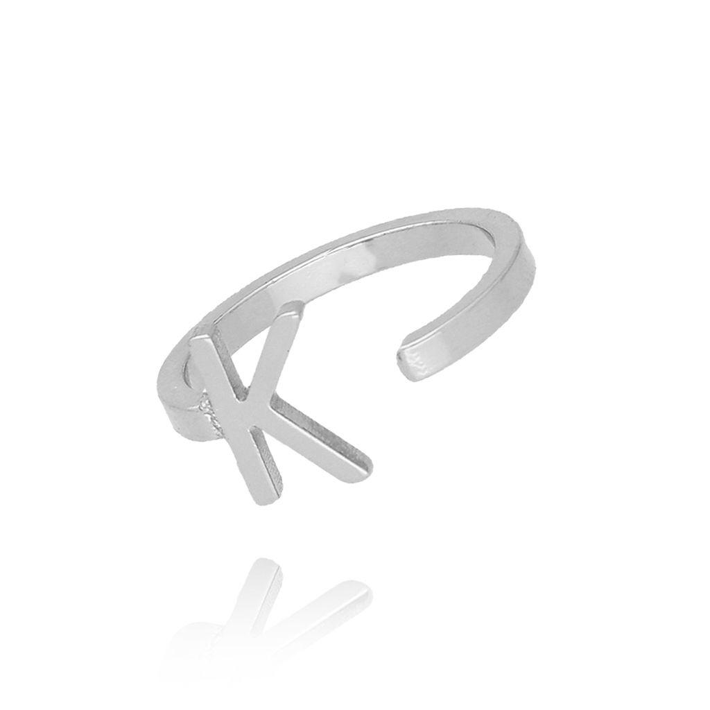 Pierścionek srebrny literka K PAT0015