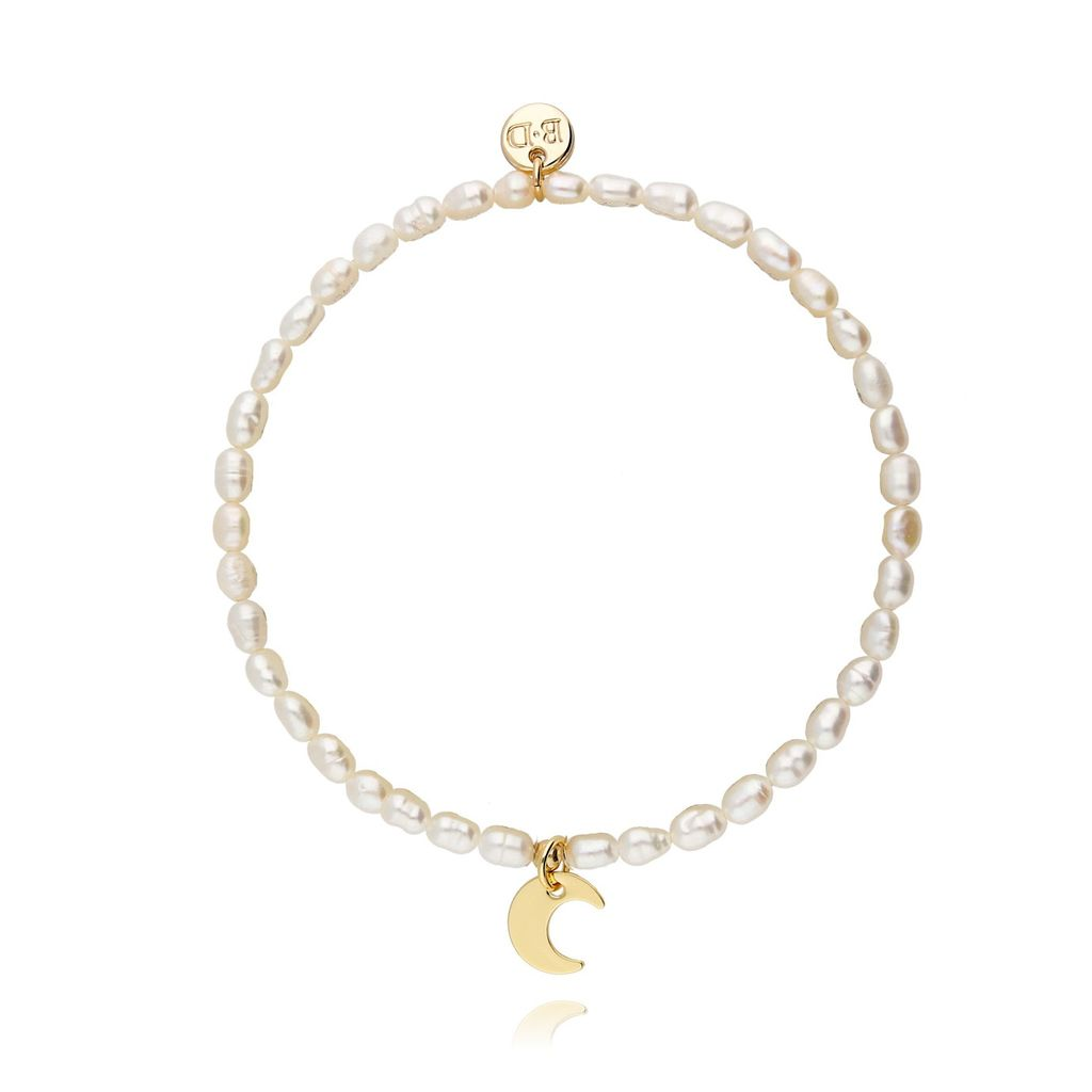 Bransoletka z pereł ze złotym księżycem BPE0003