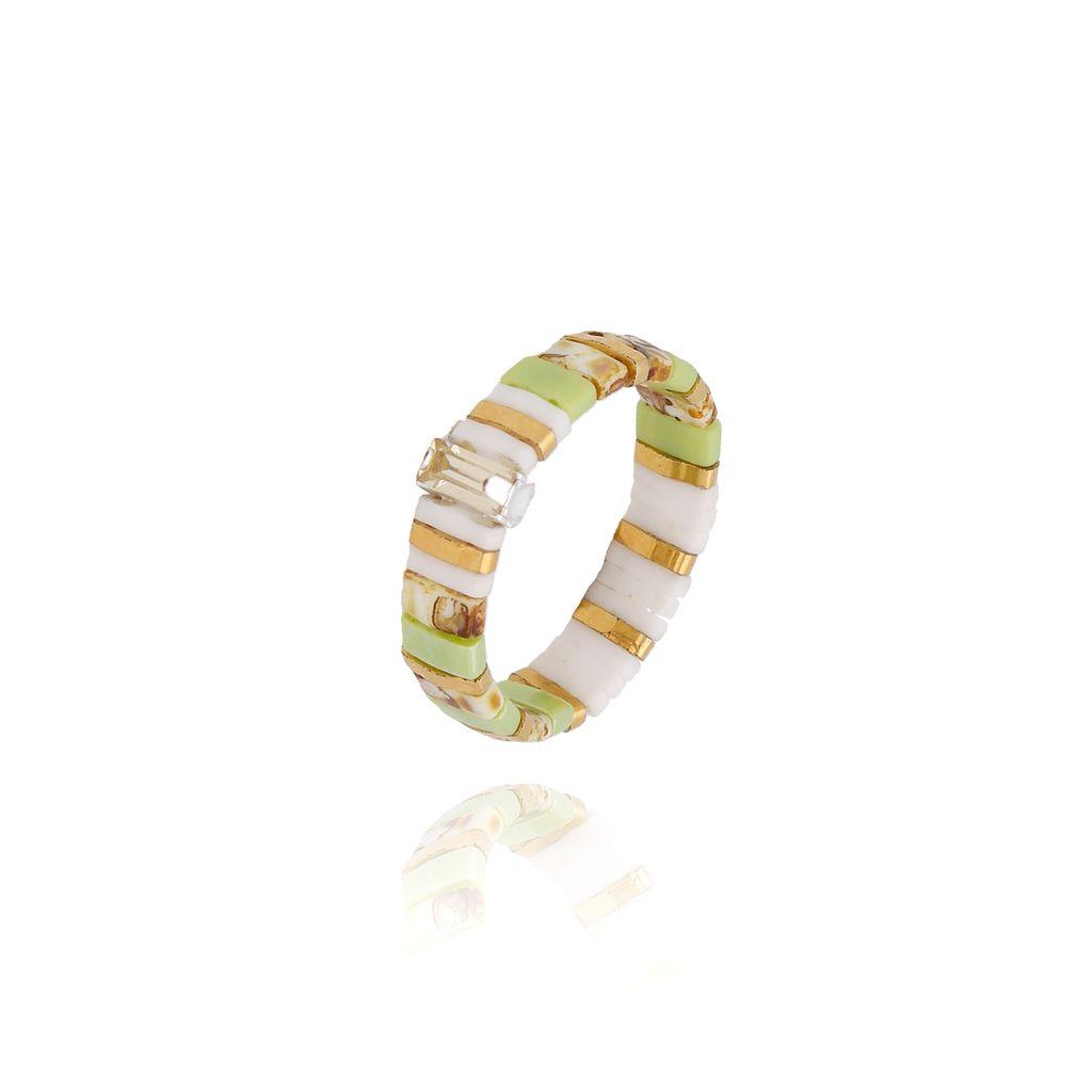 Pierścionek elastyczny zielony PLB0015