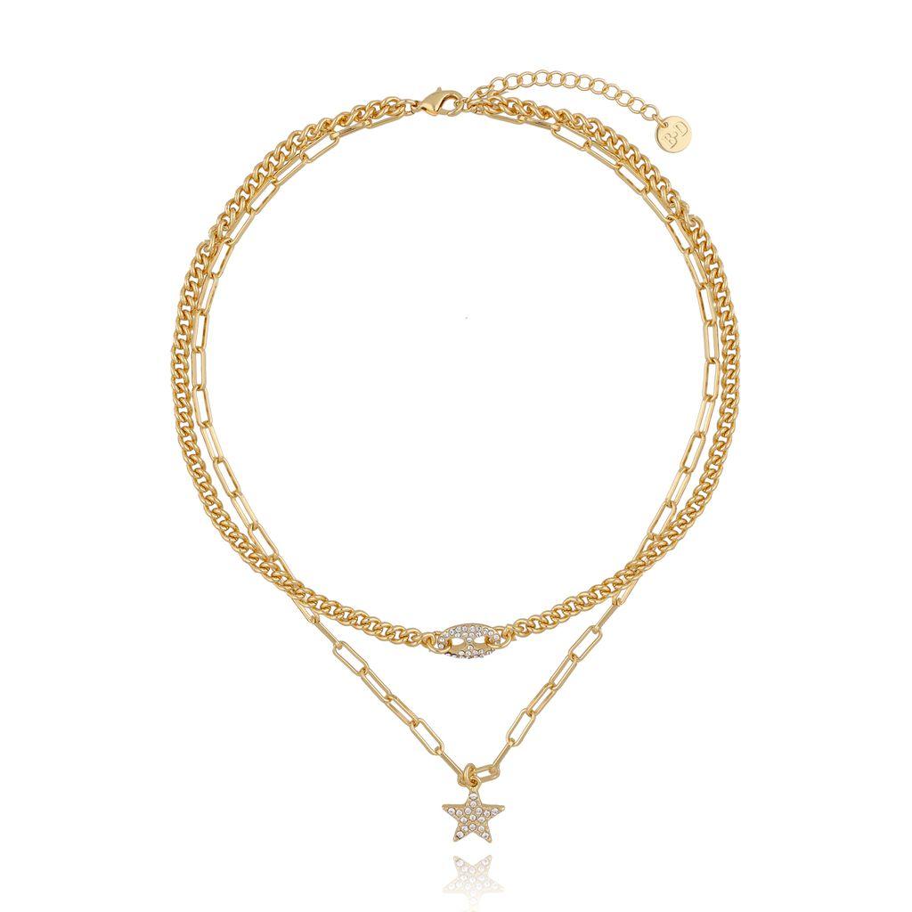 Naszyjnik złoty podwójny z gwiazdką NRG0260
