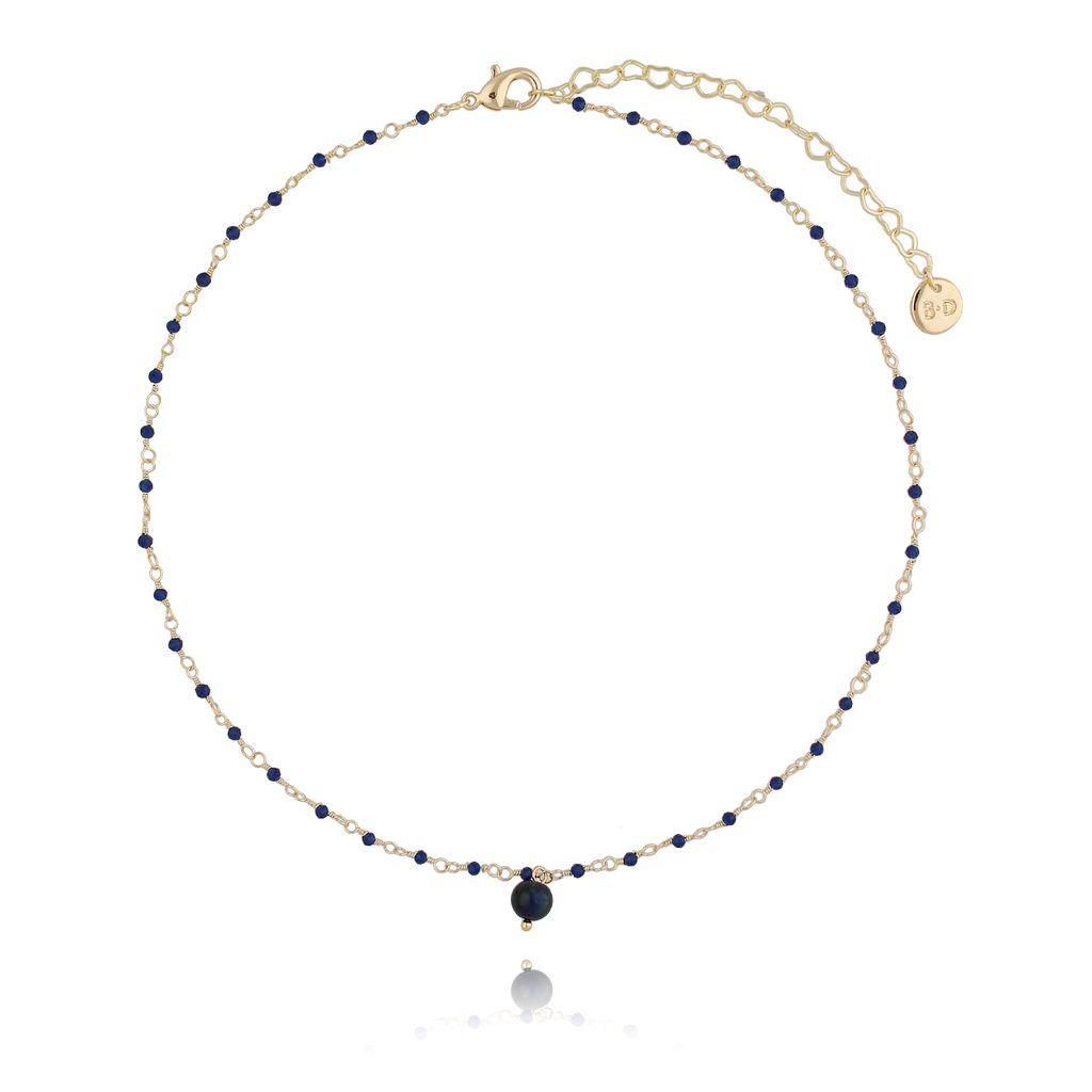 Naszyjnik z kryształkami i granatowym tygrysim okiem NOA0047