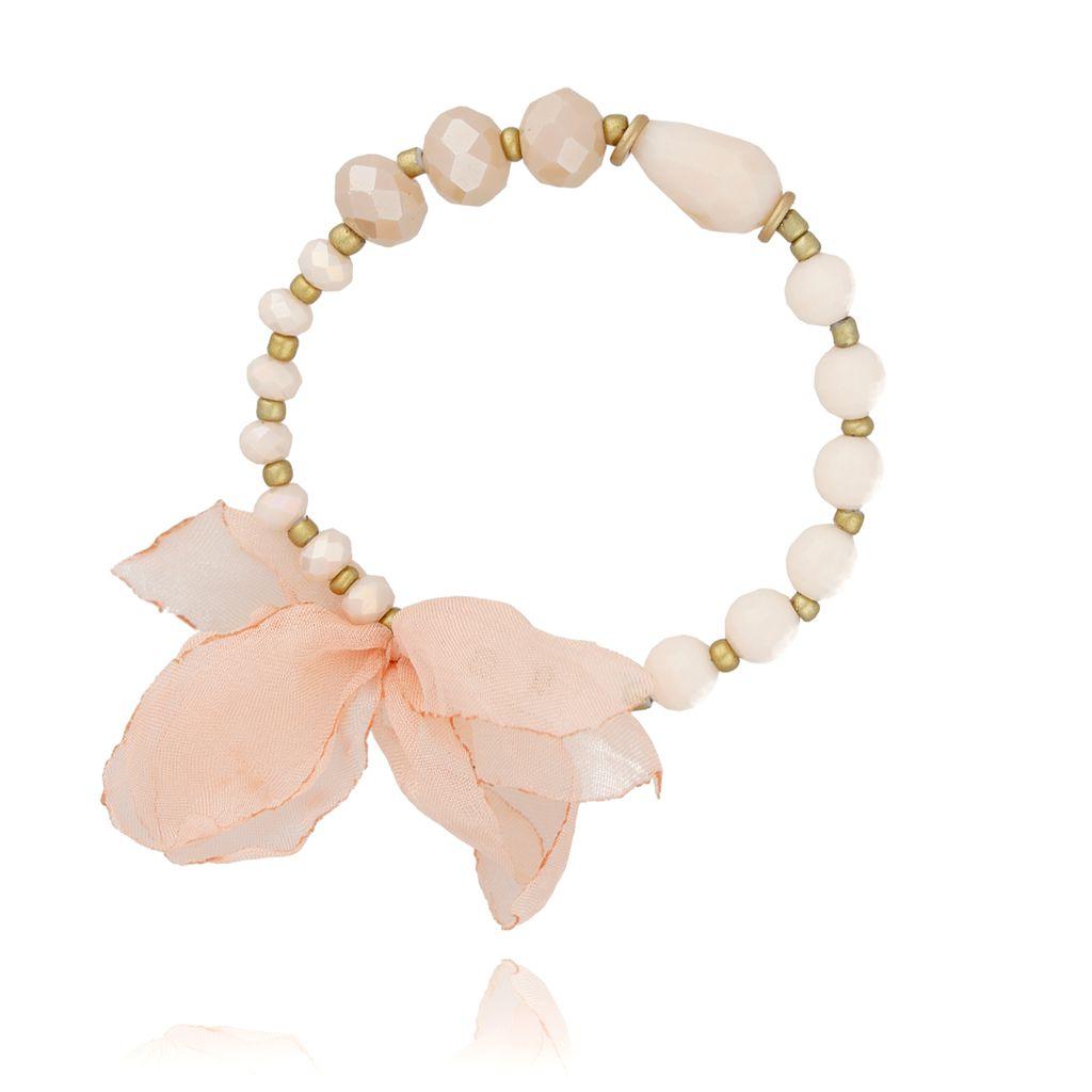 Bransoletka kremowa z kryształków - jedwabny kwiat BBL0212