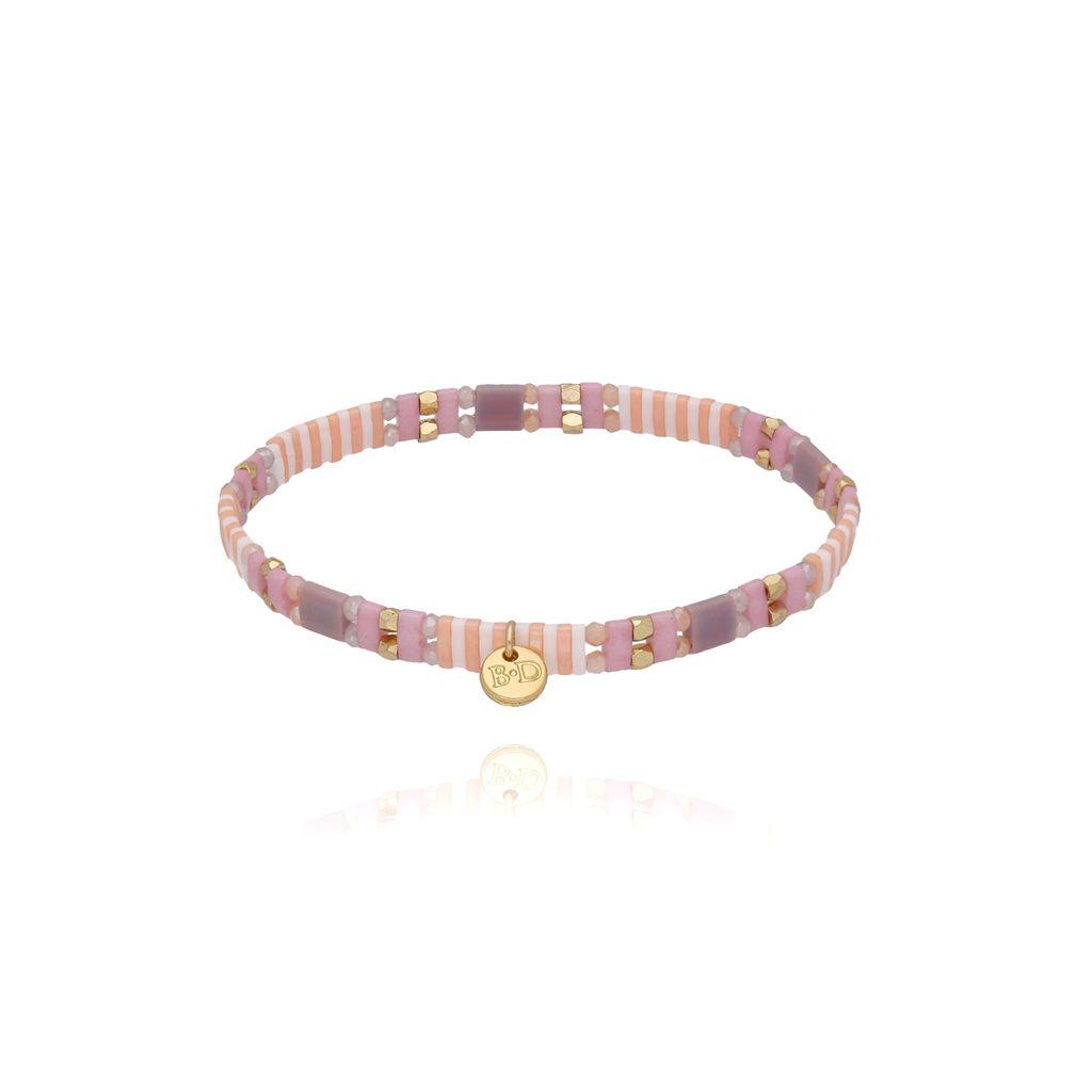Bransoletka elastyczna fioletowo różowa BLB0109