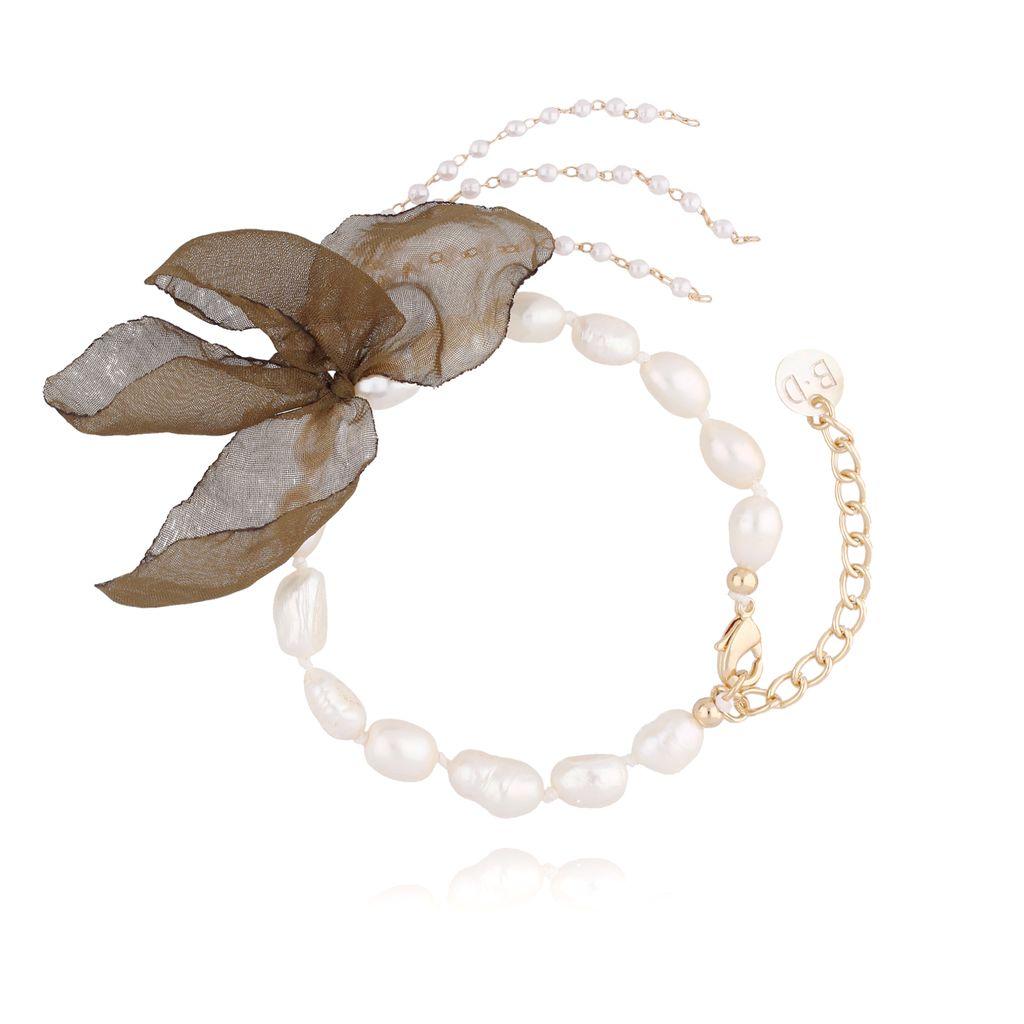 Bransoletka z perłami i z zielonym kwiatem  BBL0058