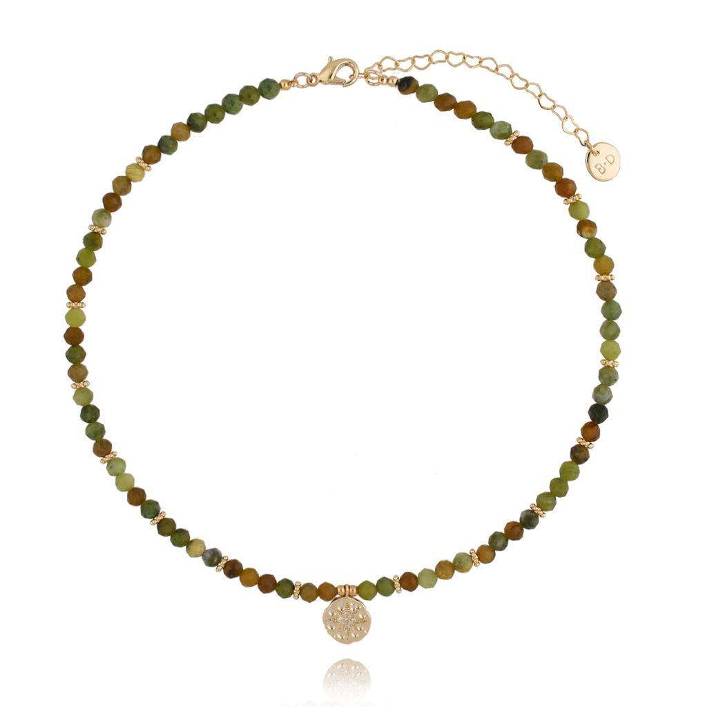 Naszyjnik zielony z jadeitami NTW0146