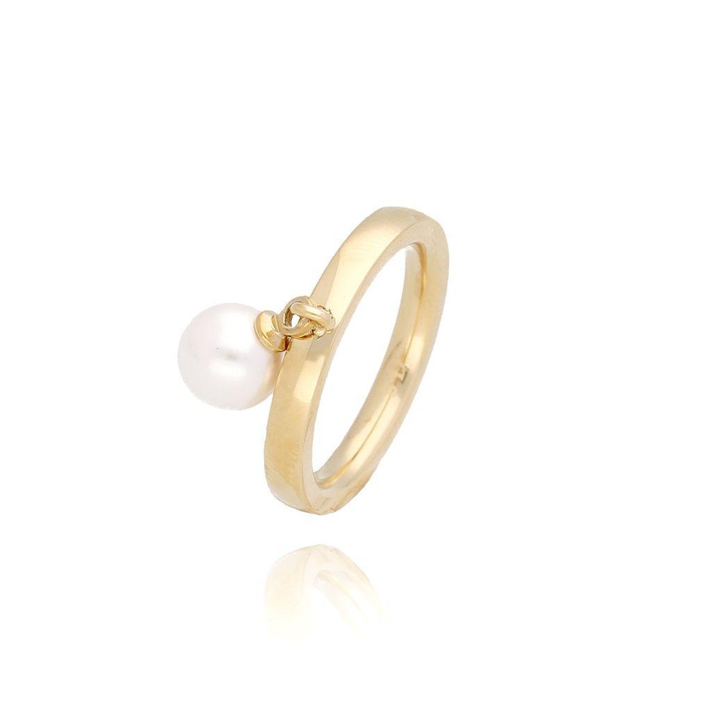 Pierścionek złoty z perłą ze stali szlachetnej PSA0058 Rozmiar 15