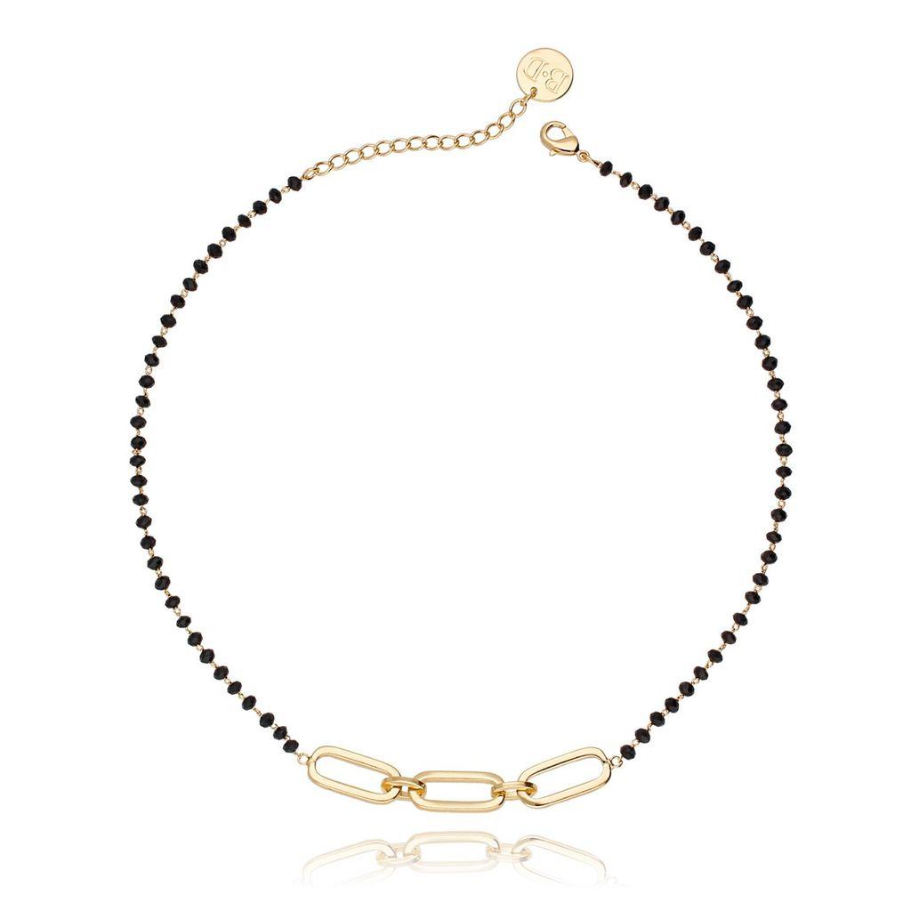 Naszyjnik złoty łańcuch z czarnymi kryształkami NRG0114