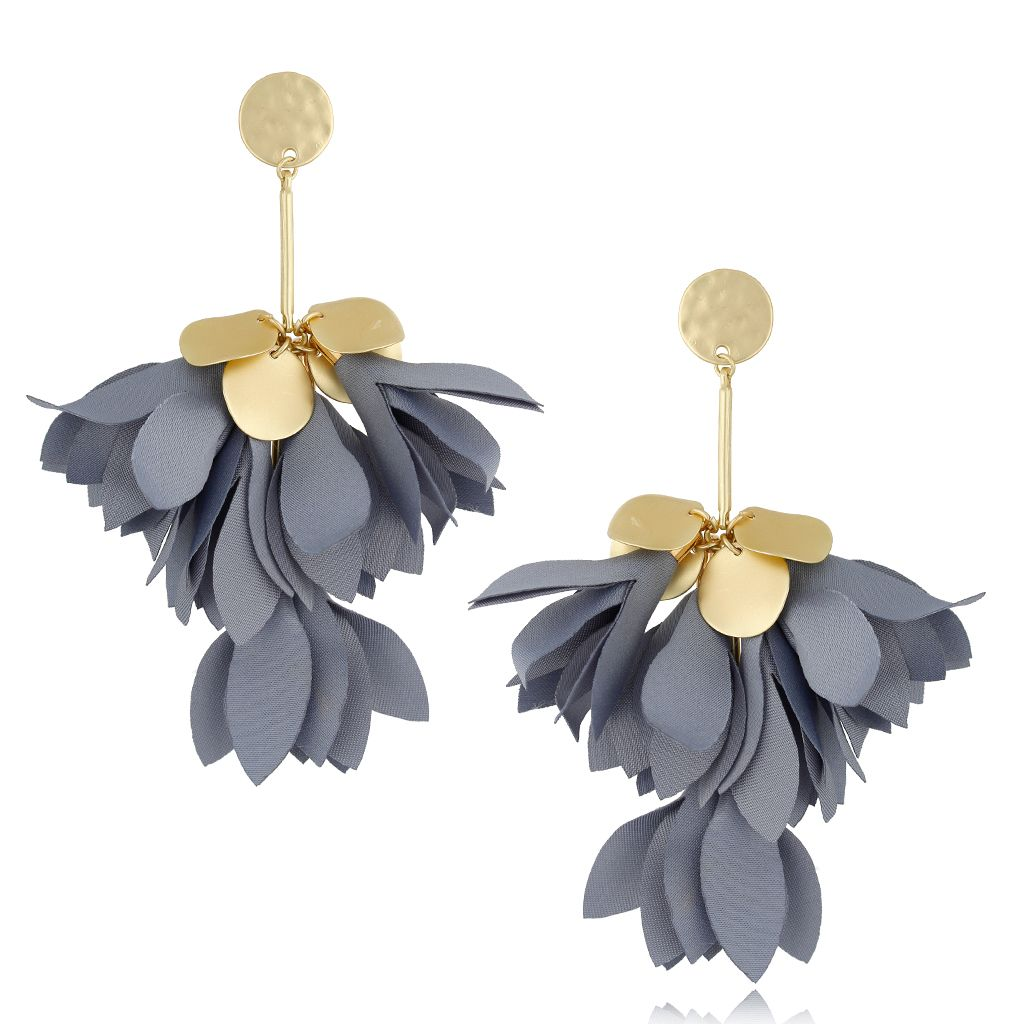 Kolczyki satynowe kwiaty szare KBL0455