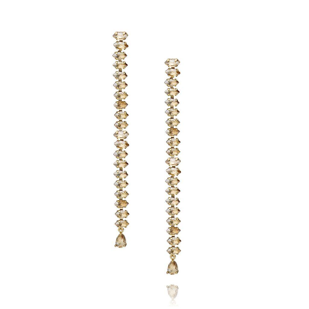 Kolczyki złote z kryształkami - długie KSS0770