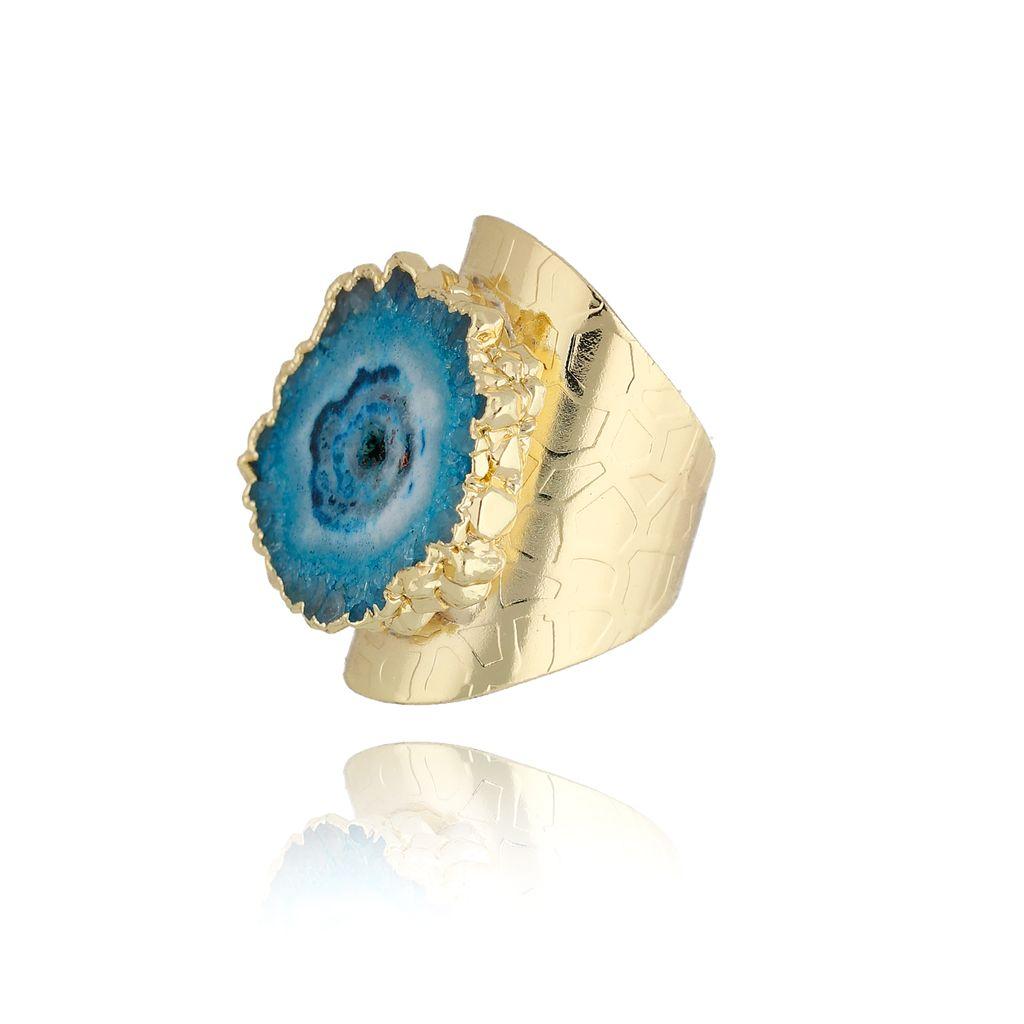 Pierścionek z niebieskim agatem PPA0005