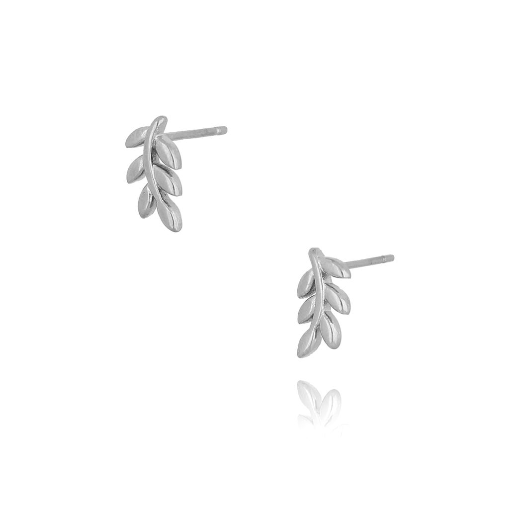 Kolczyki srebrne listki ze stali szlachetnej KSA0095