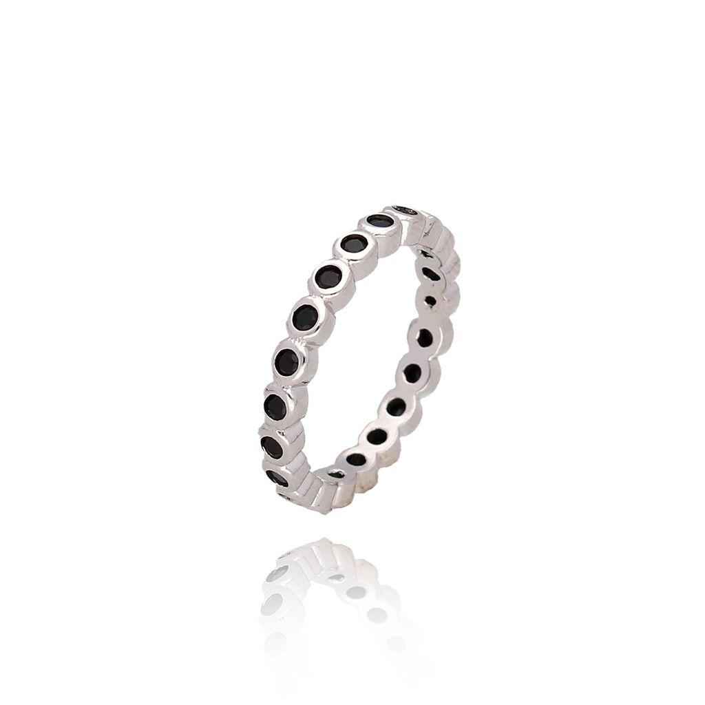 Pierścionek srebrny z czarnymi cyrkoniami PCO0010 rozmiar 11