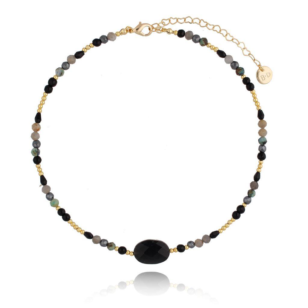 Naszyjnik czarny z agatami NTW0121