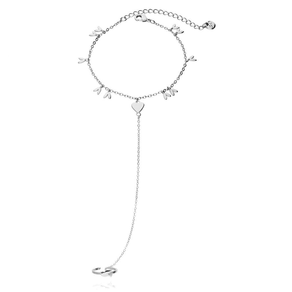 Bransoletka srebrna z  pierścionkiem BNE0023