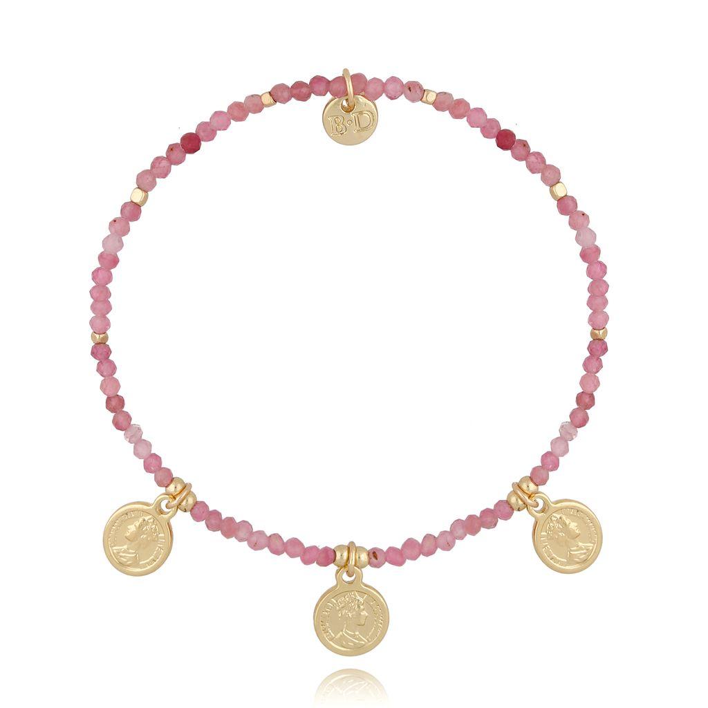 Bransoletka z różowymi turmalinami i monetami BSC0876