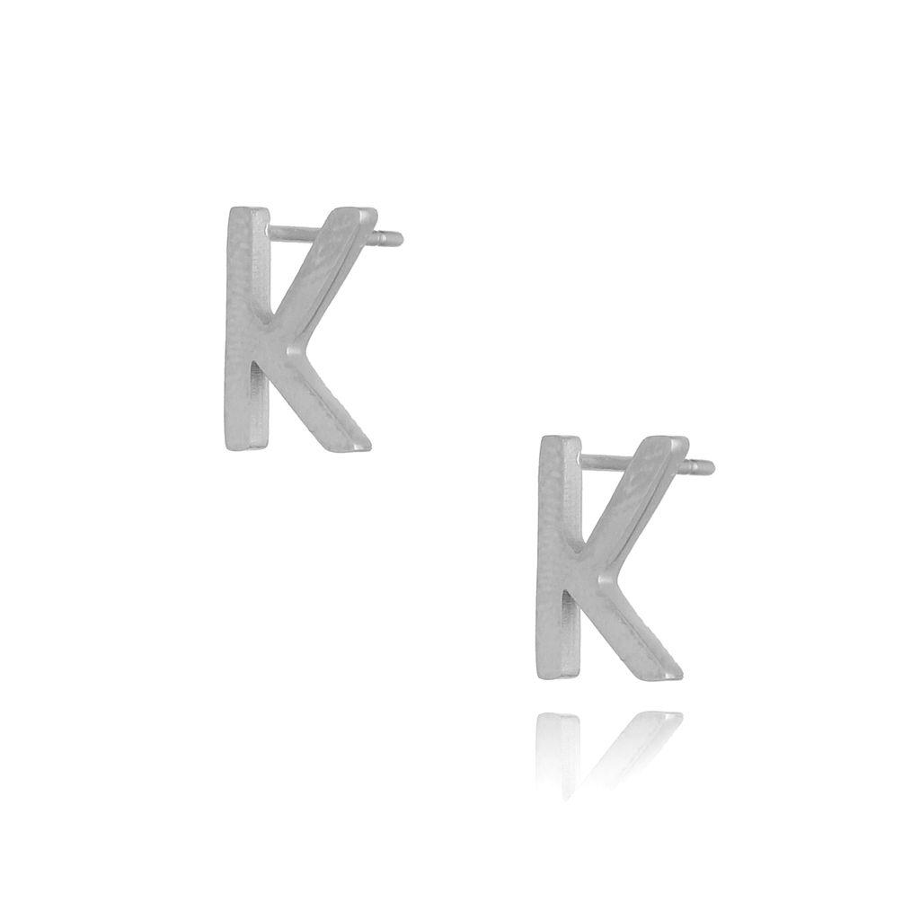 Kolczyki wkrętki srebrne z literką  K KAT0052