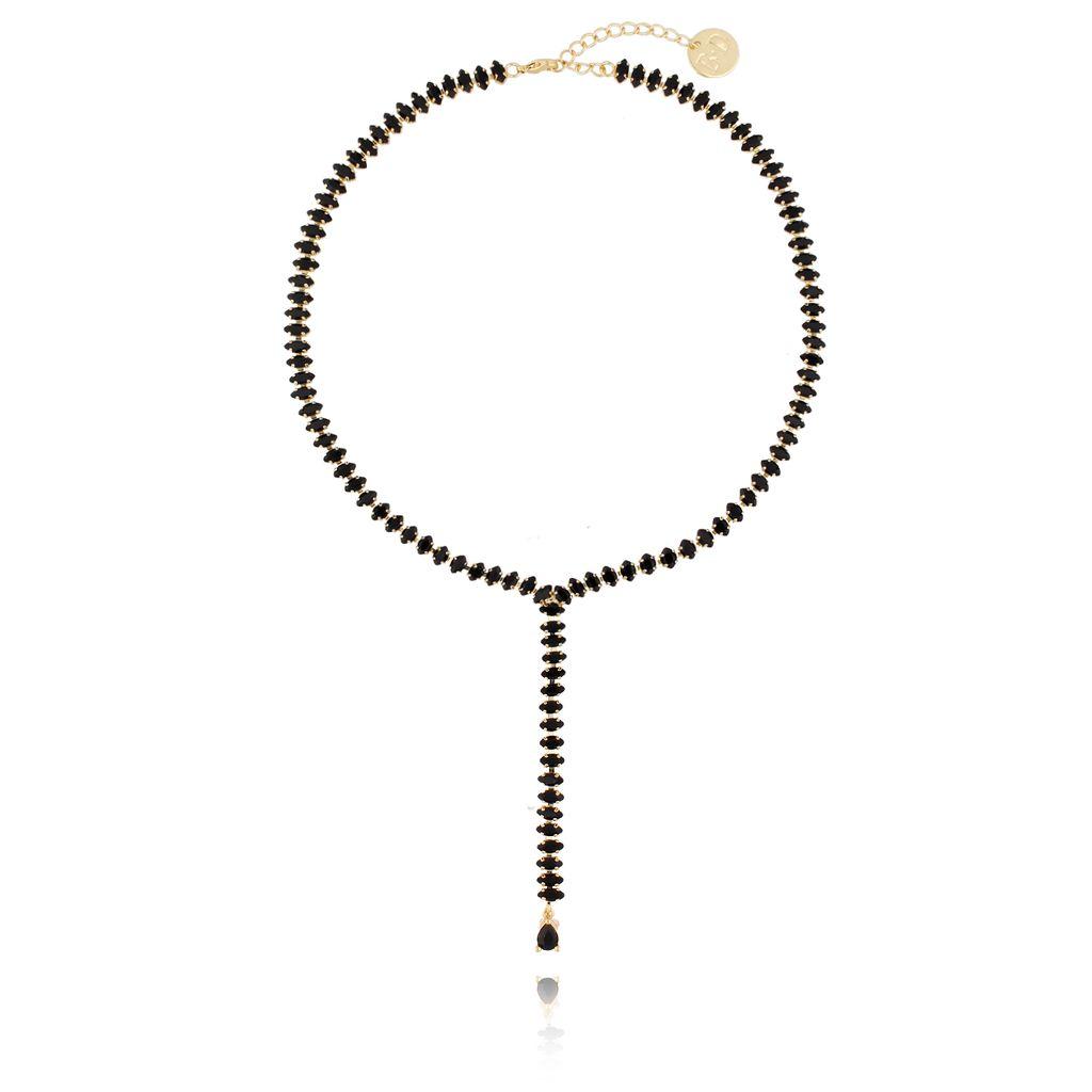 Naszyjnik  złoty z czarnymi kryształami  NS0014