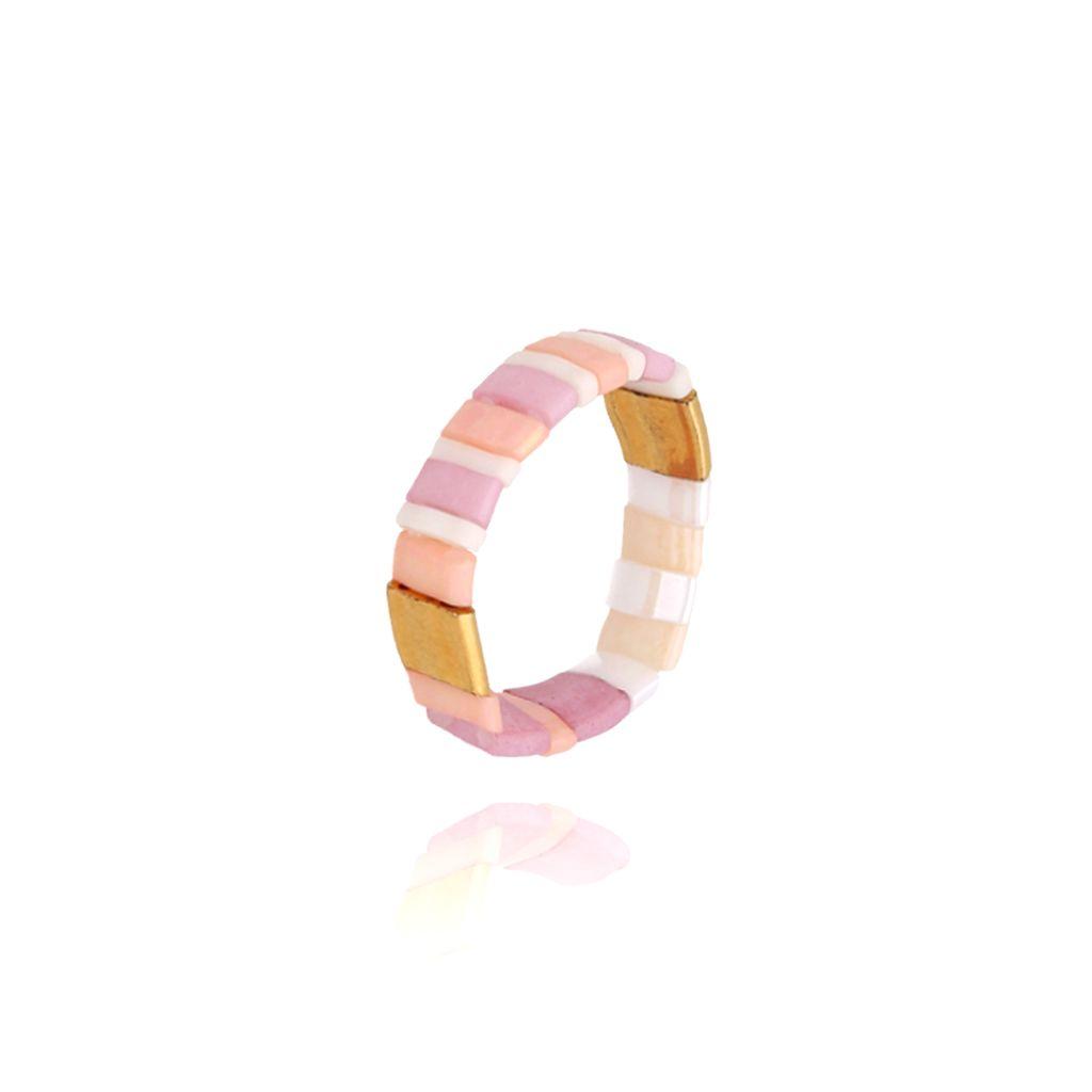 Pierścionek elastyczny różowo złoto beżowy PLB0003
