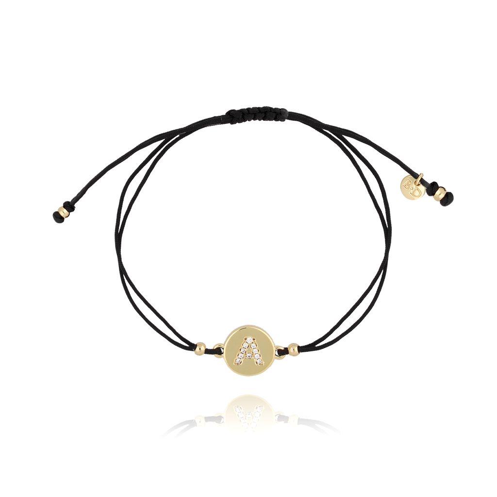 Bransoletka złota na sznurku z literką A  BAT0002