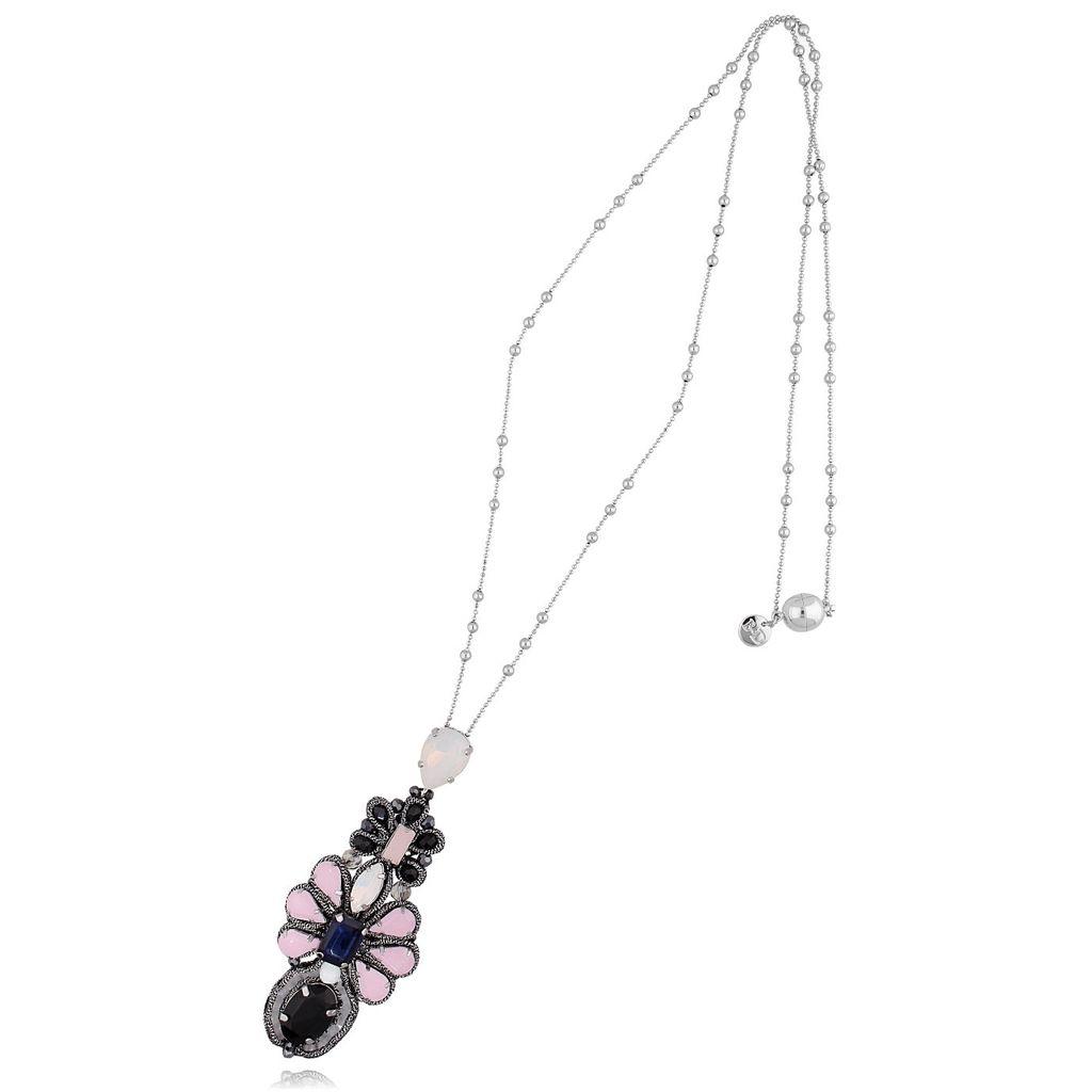 Naszyjnik srebrny  z różowo czarnymi kryształkami NMS0578