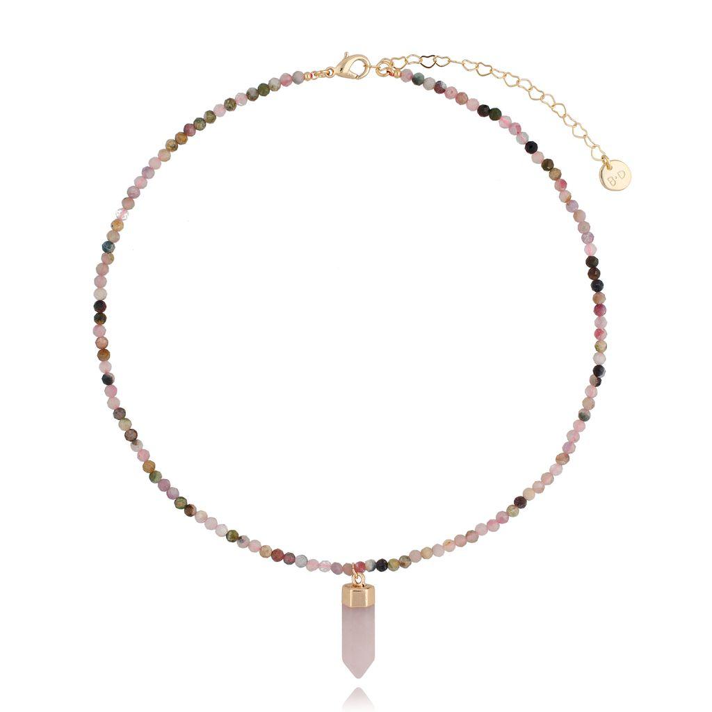 Naszyjnik z turmalinami i różowym kwarcem NPA0078
