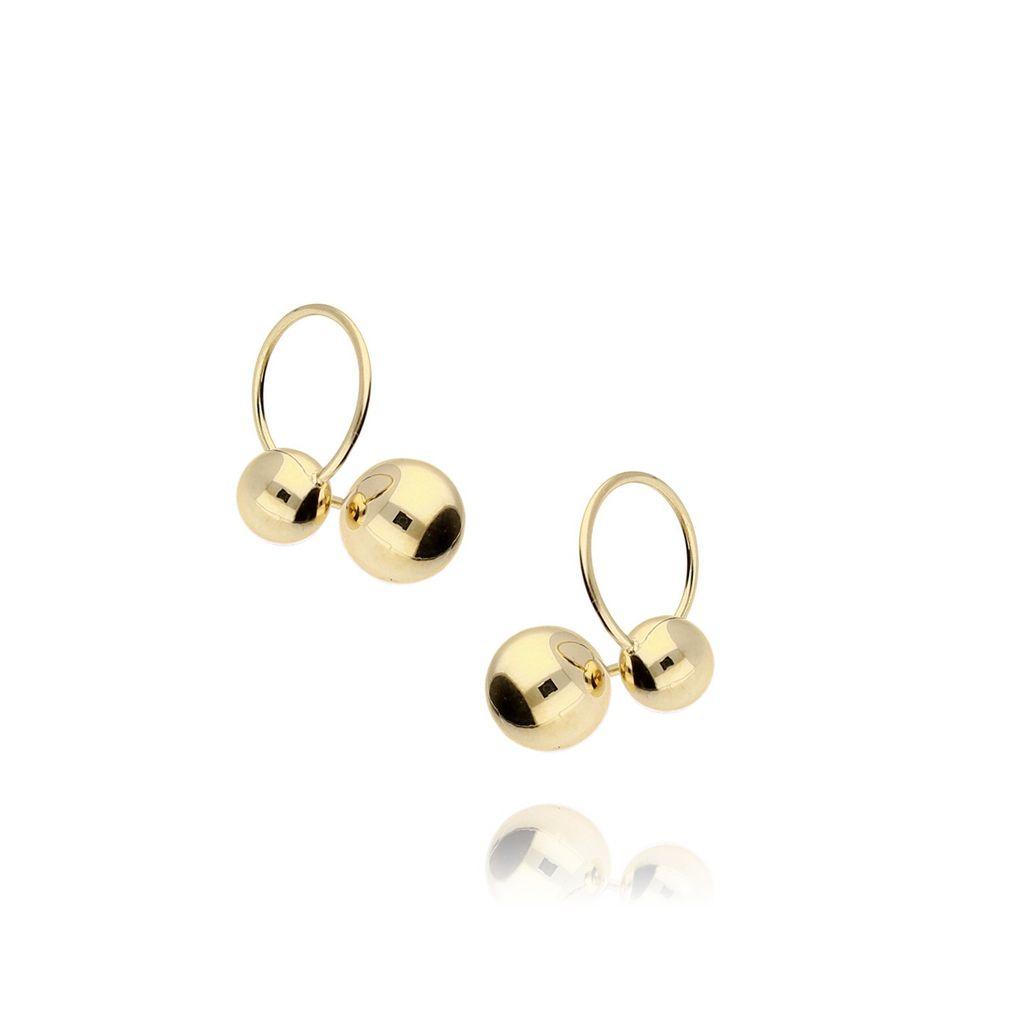 Kolczyki złote kółka z kuleczkami ze stali szlachetnej KSA0008