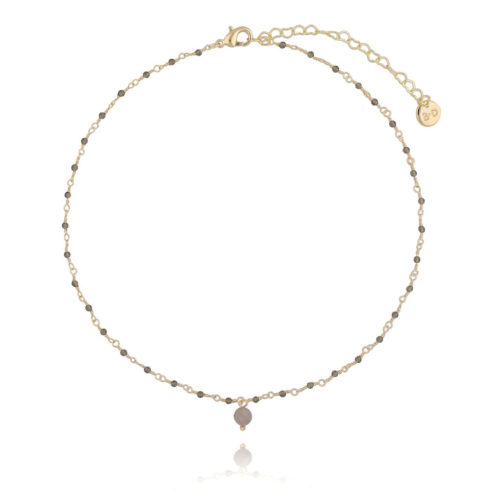 Naszyjnik z  z kryształkami i jadeitem jasno brązowy NOA0044