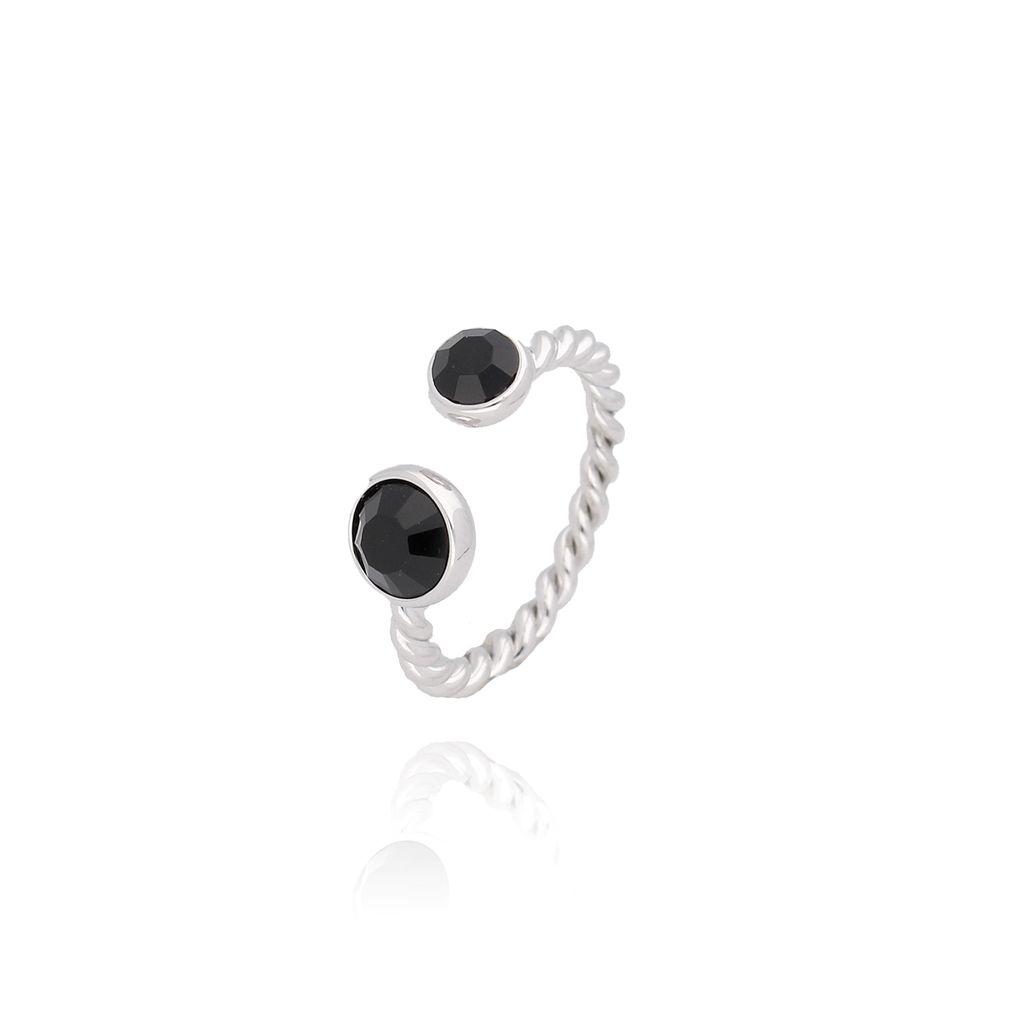 Pierścionek srebrny z czarnymi kryształkami PRG0078 rozmiar 14