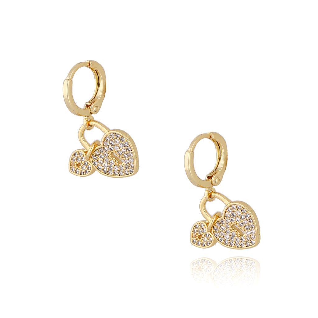 Kolczyki serca złote z transparentnymi cyrkoniami KRG0606