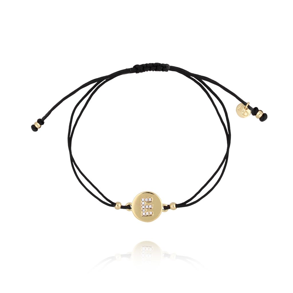 Bransoletka złota na sznurku z literką E BAT0014