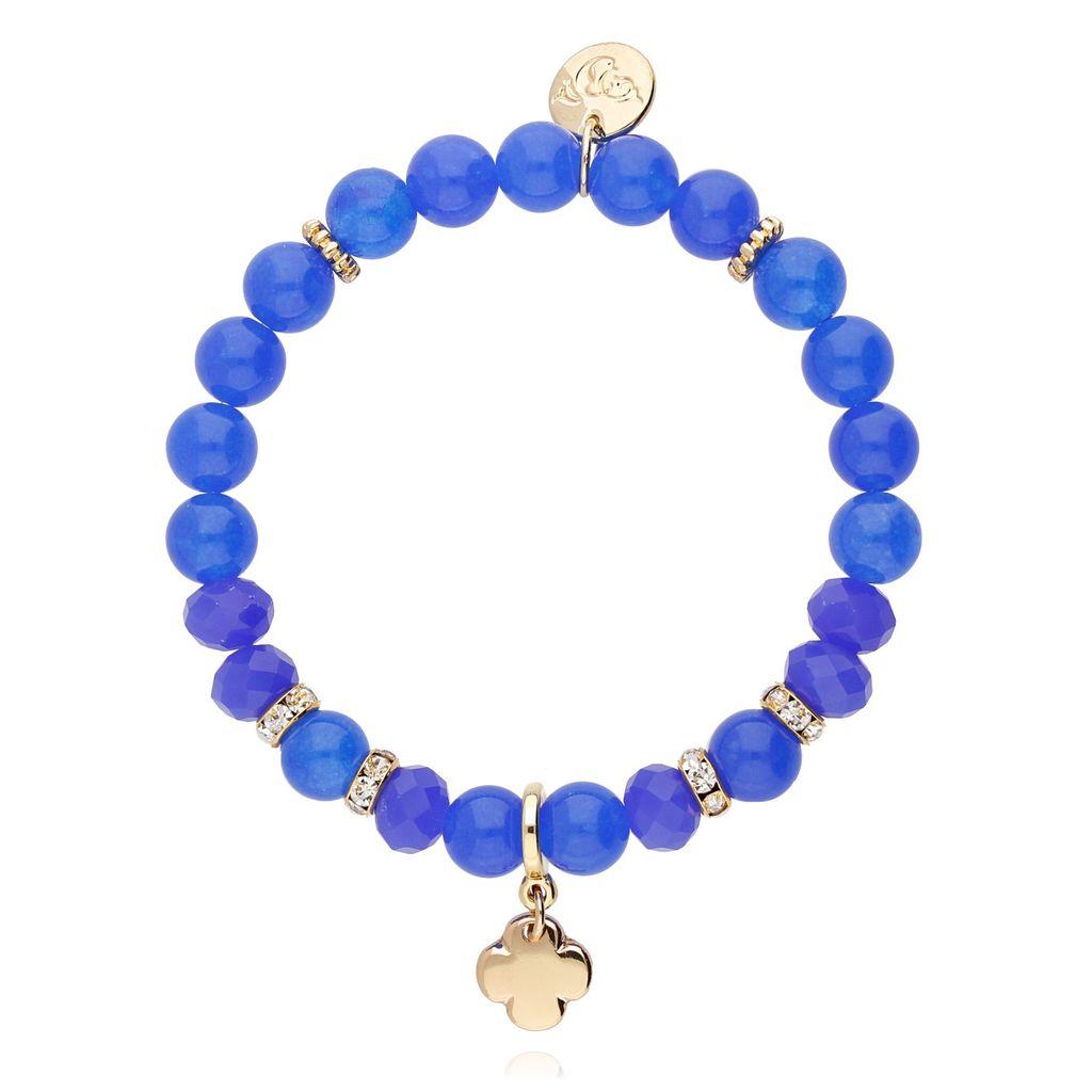 Bransoletka niebieska z jadeitu - koniczyna BMMH3857