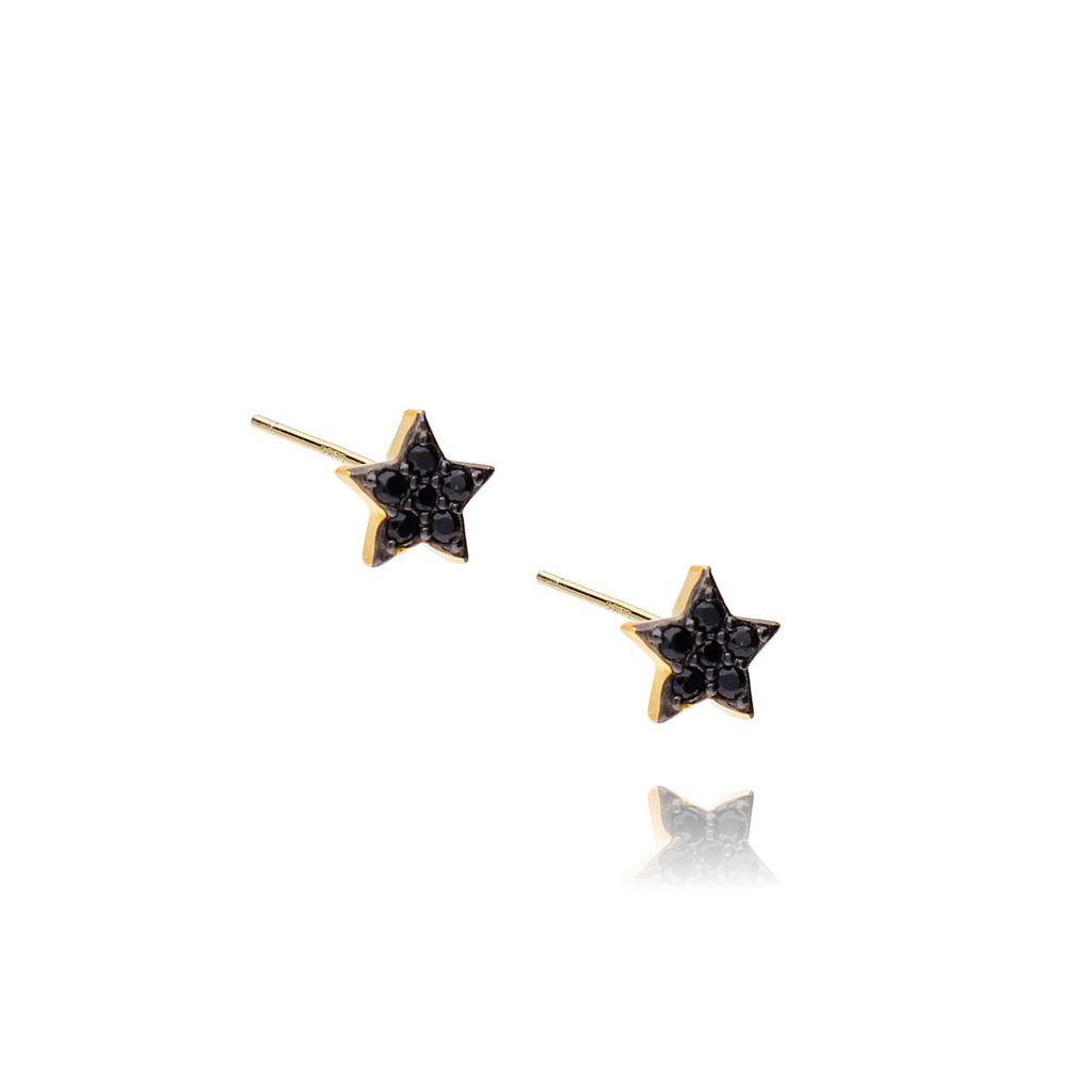 Kolczyki srebrne pozłacane z cyrkoniami gwiazdki KGM0116
