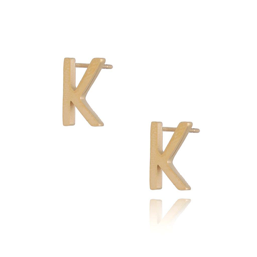 Kolczyki wkrętki złote  z literką  K KAT0063