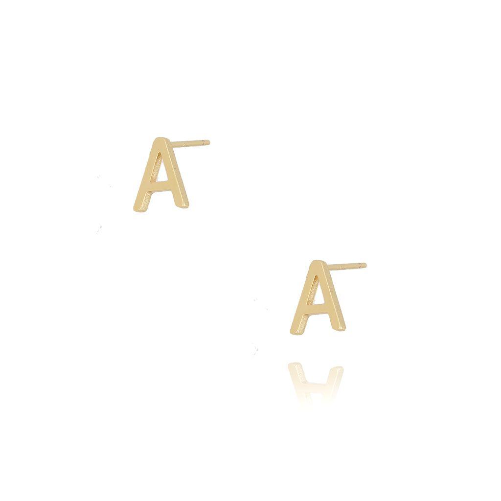 Kolczyki wkrętki z literką A złote KAT0001