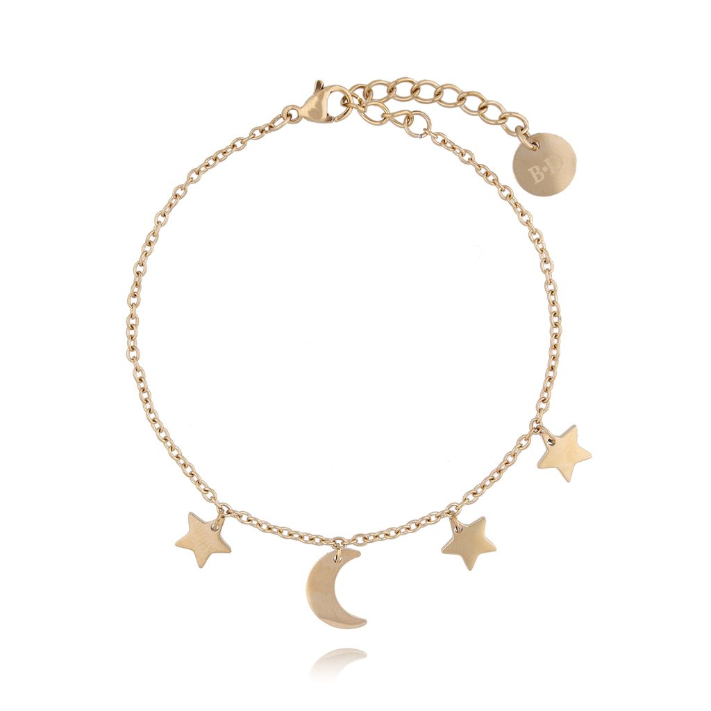 Bransoletka złota z gwiazdkami i księżycem ze stali szlachetnej BSA0050
