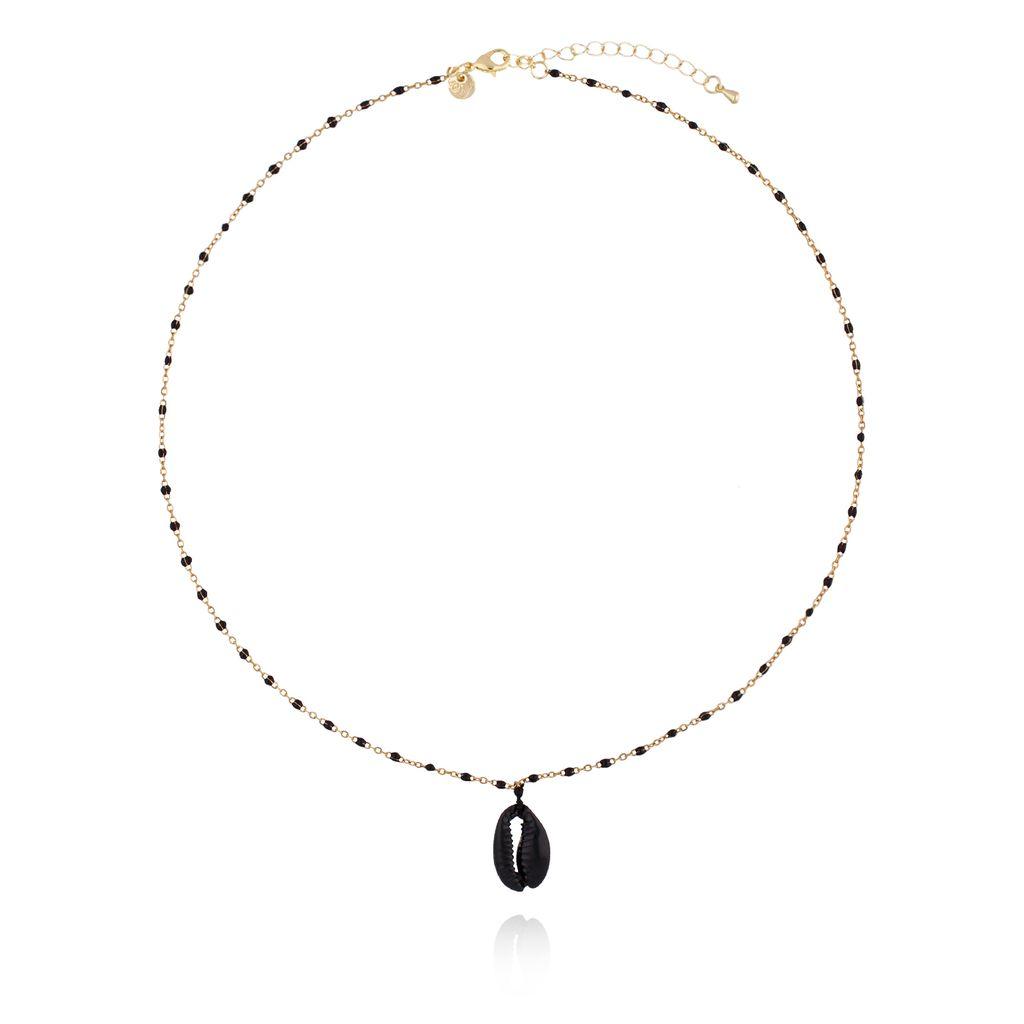 Naszyjnik złoty z czarną emalią i  czarną muszelką NOV0054