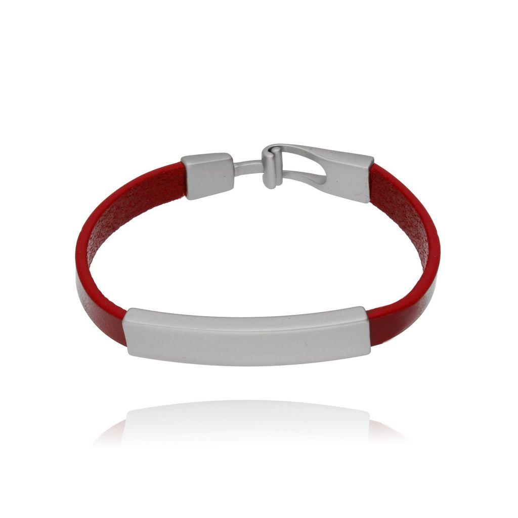 Bransoletka srebrna na czerwonym skórzanym pasku BRG0080