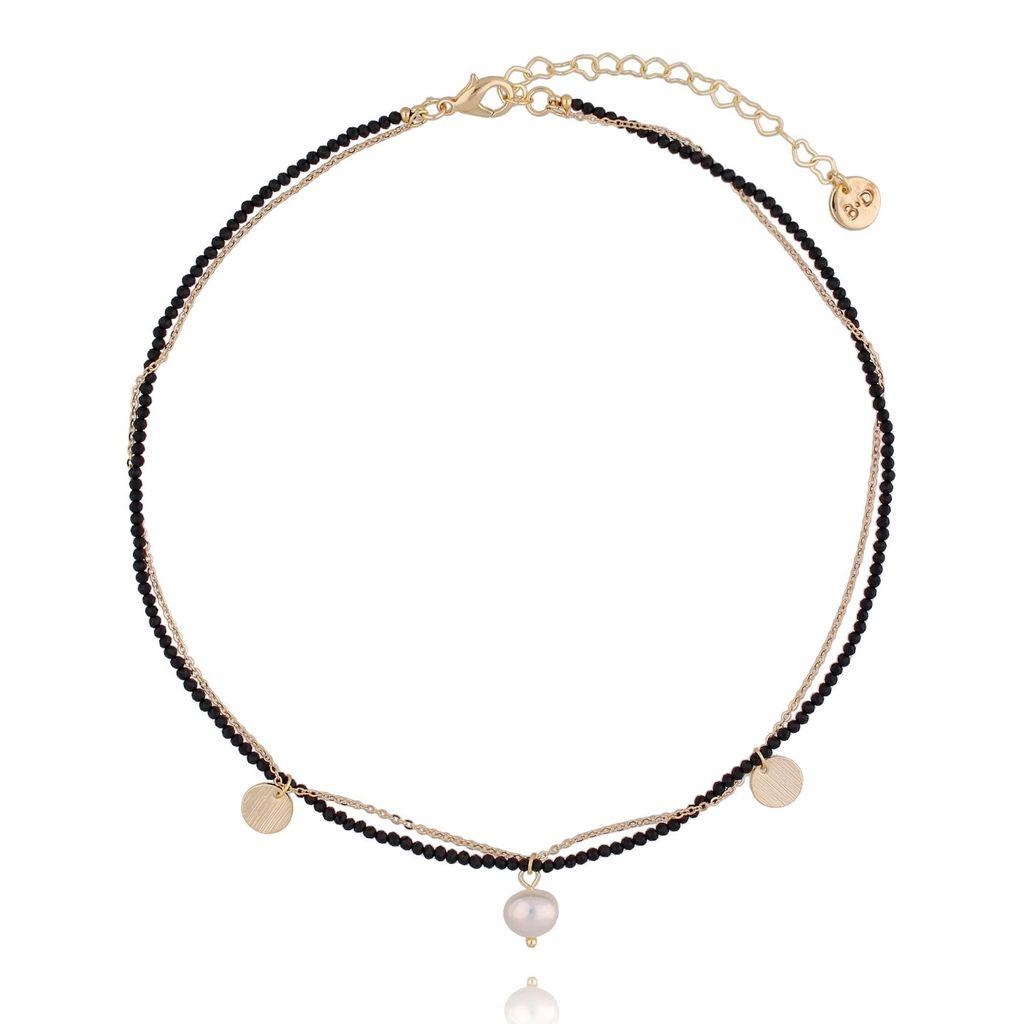 Naszyjnik z onyksami i perłą NTW0084 42 cm