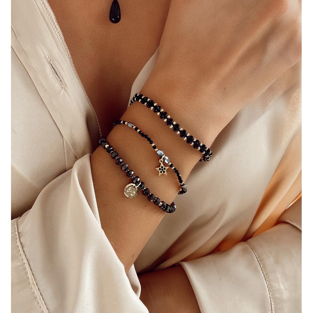 Bransoletka z czarnym sznurkiem i kryształkami BLB0074